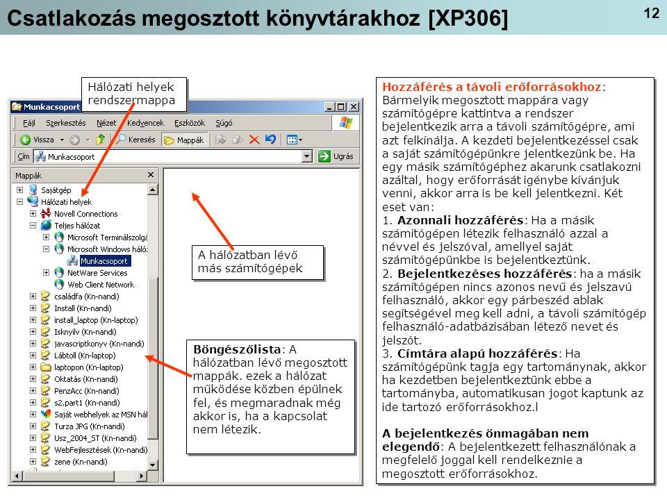 Csatlakozás megosztott könyvtárakhoz [XP306]